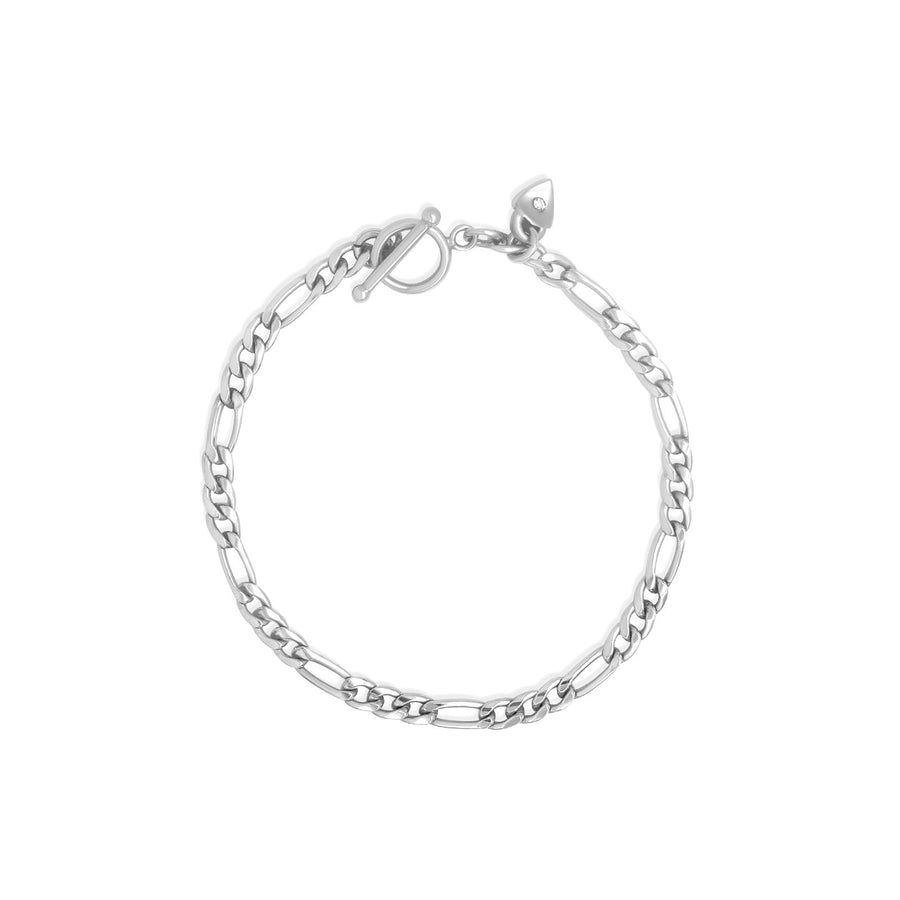 Sterling silver medium figaro style chain bracelet with toggle bar | Camille Jewelry