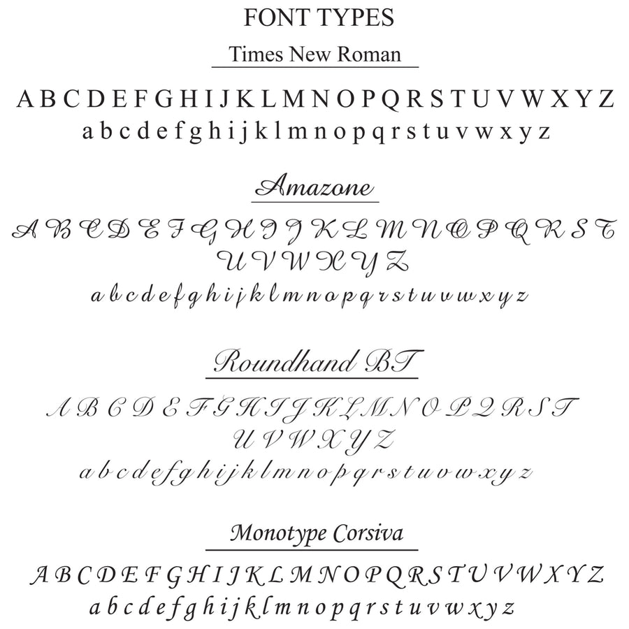 Select your font type to customize on your Camille Jewelry.