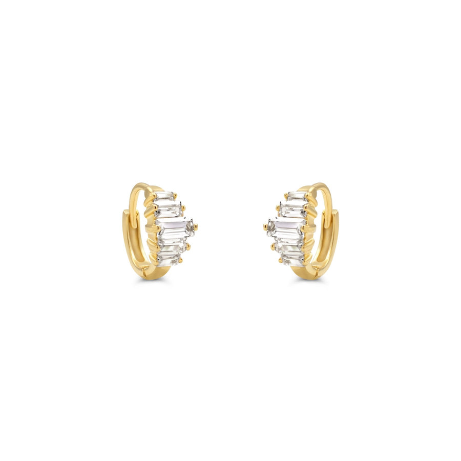 Camille Jewelry- 14K gold baguette hinged hoop earring. Free Shipping with in USA.