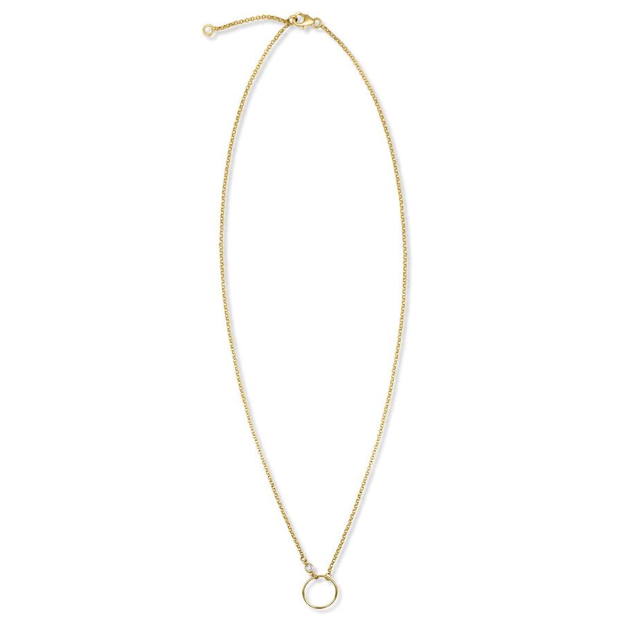 Small open disk necklace with cz accent on rolo chain | Camille Jewelry