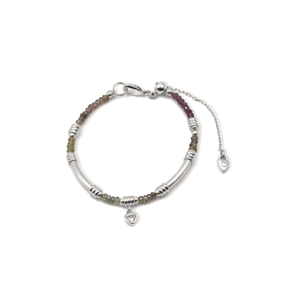 Shop genuine garnet beaded rondel bracelet. Tube styling in silver plated from Camille Jewelry.