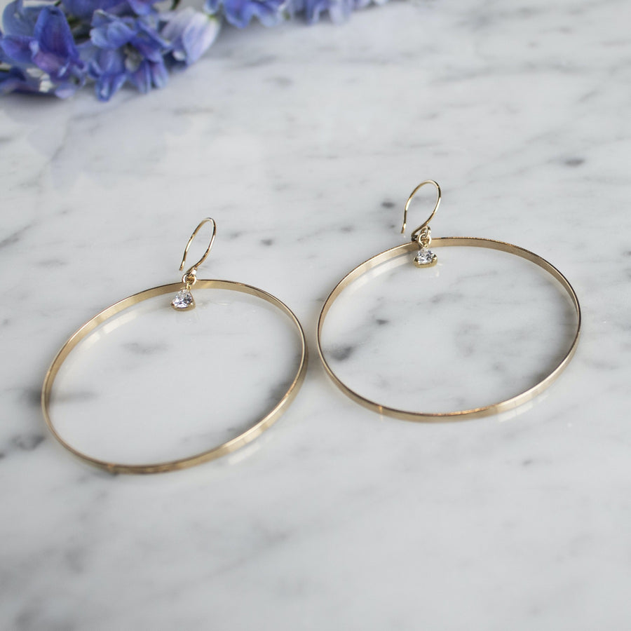 Gold Filled Hoop Earrings with Trillion Charm Dangle| Camille Jewelry |