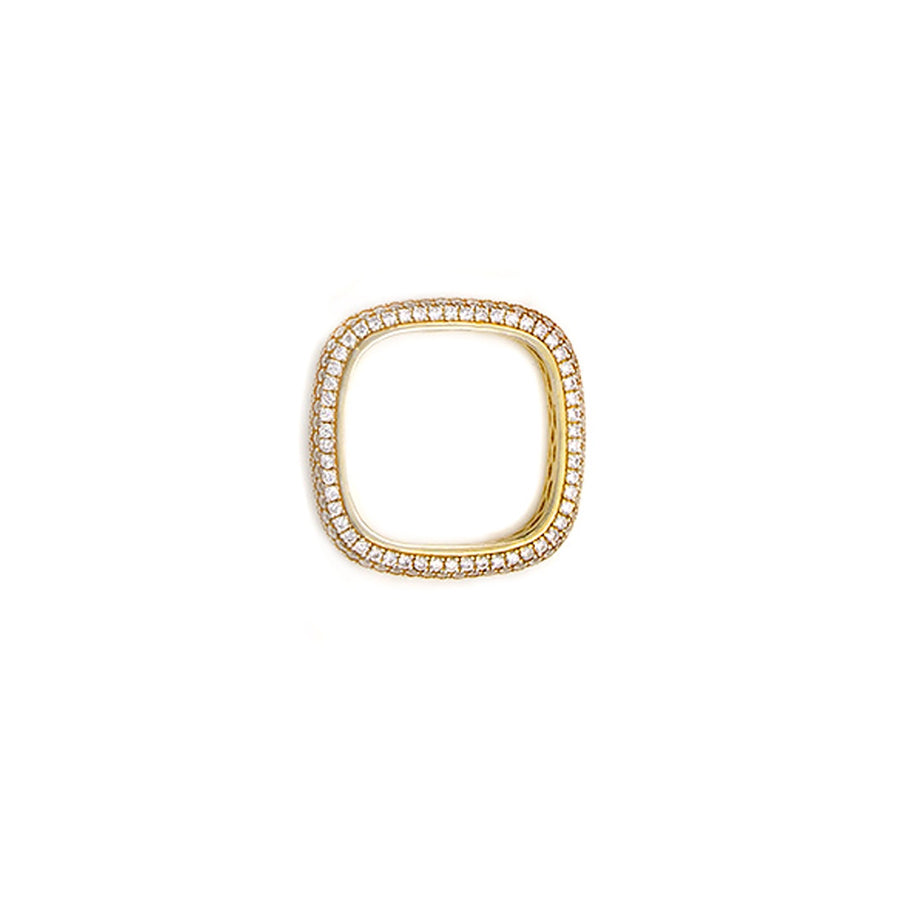 Gold pave soft square ring top view. Available at Camille Jewelry. Free Shipping on all domestic orders