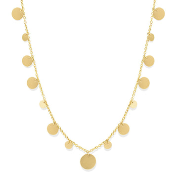Gold filled charm disk necklace in a brushed finish, a designer favorite! | Camille Jewelry