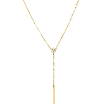 Camille Jewelry - Y necklace with cubic zirconia in gold filled