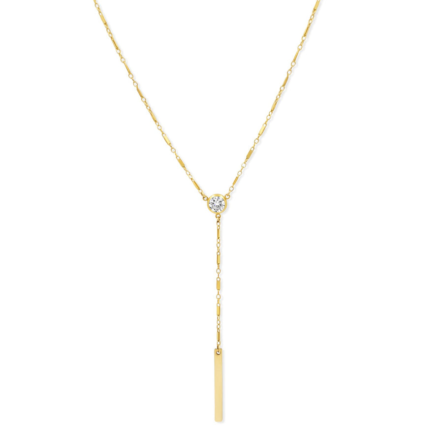 Camille Jewelry - Elegant gold filled y necklace style with center glitz stone and plaque detail. FREE shipping within USA