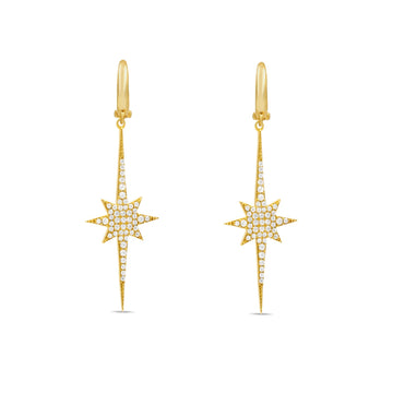 Camille Jewelry - Elongated star with pave in gold vermeil