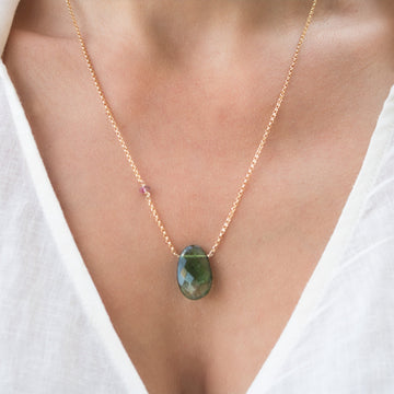 Shop green tourmaline necklace| Free Shipping | Camille Jewelry