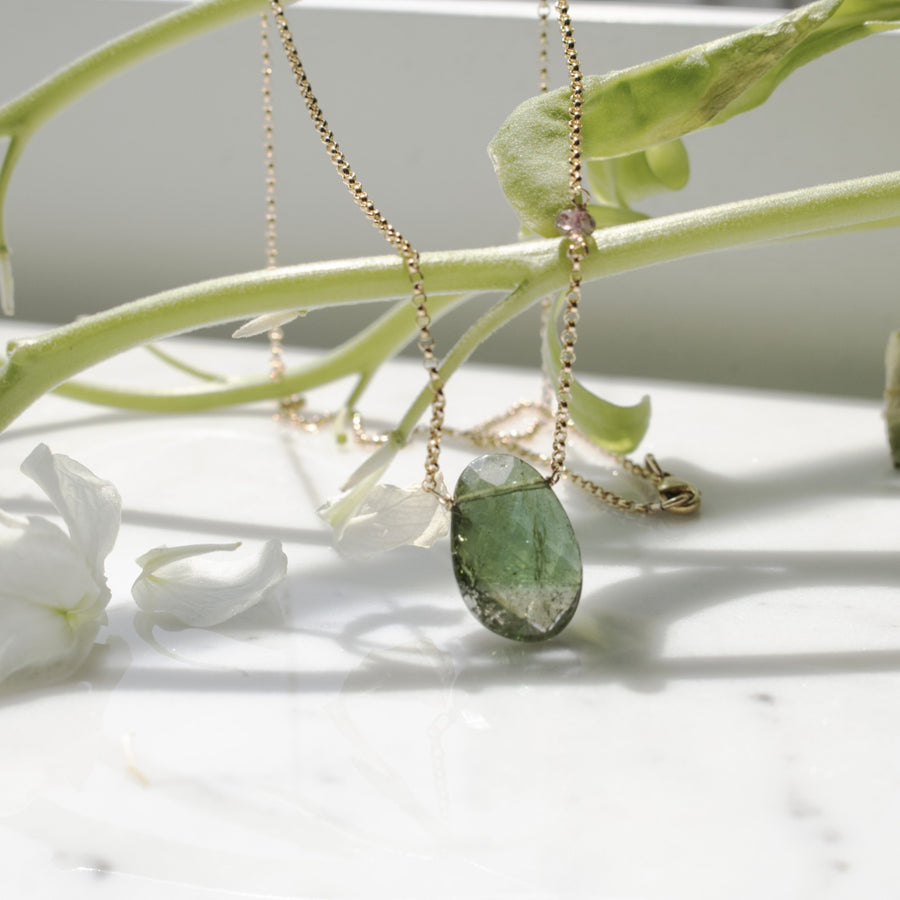 Green tourmaline pendant necklace | 14K Gold Filled | Camille Jewelry