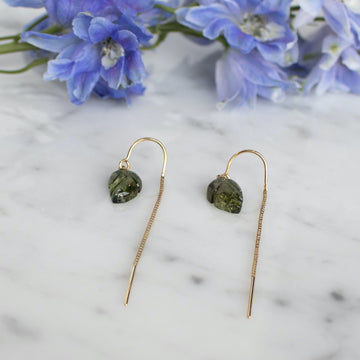 Green hand carved tourmaline Earrings | Shop Camille Jewelry