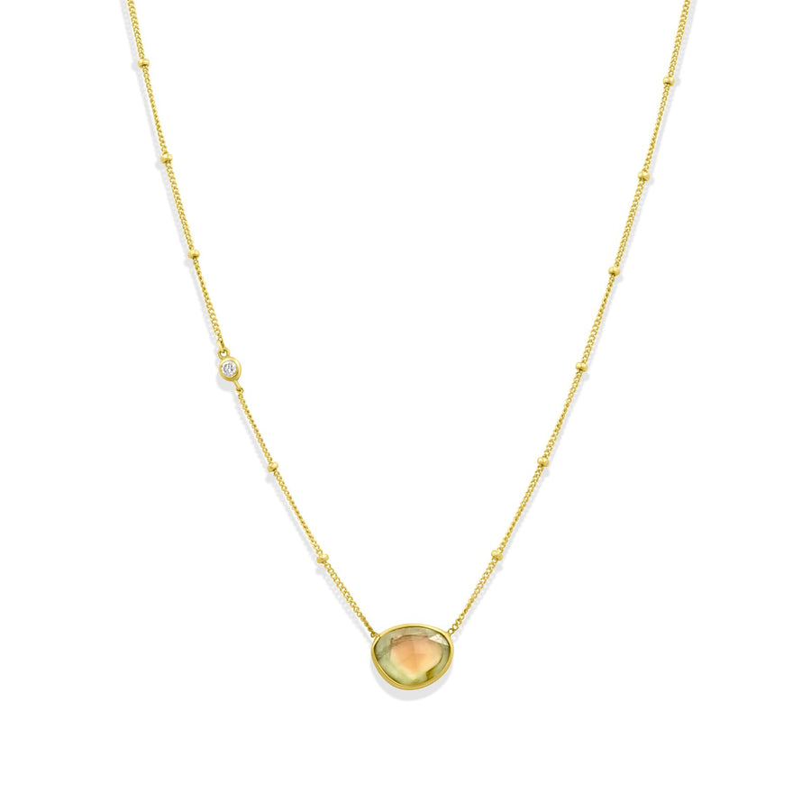 Shades of tourmaline pendant on ball shot gold filled chain with cz accent | Camille Jewelry