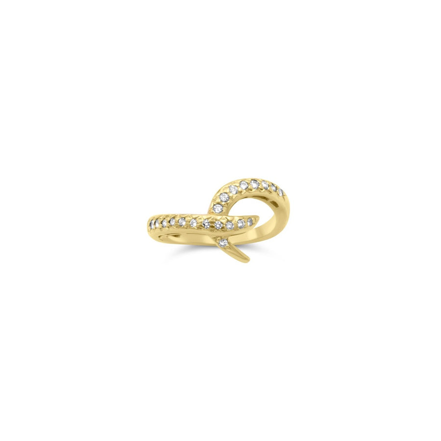 Diamond pave hook ring in solid yellow gold | Camille Jewelry