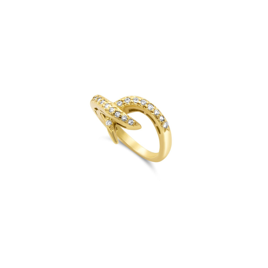 Diamond hook yellow gold pinky ring | Camille Jewelry