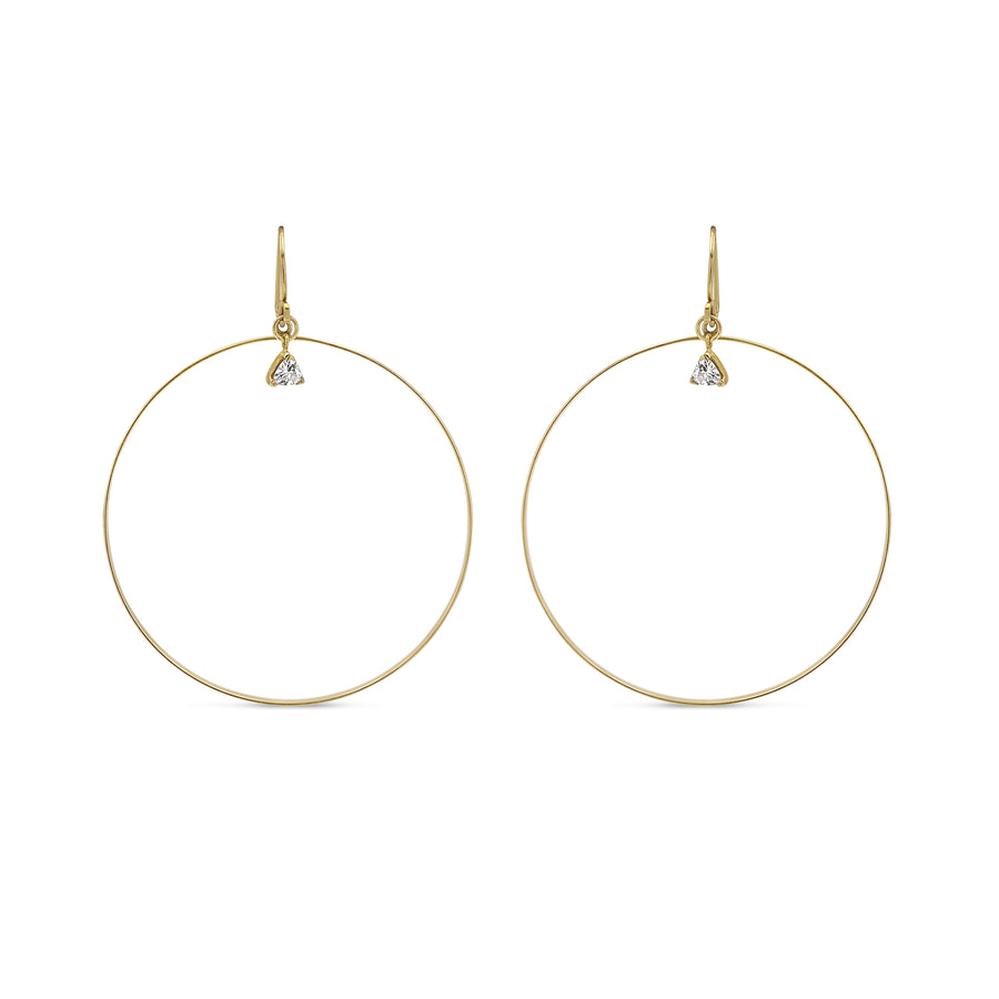 14K gold filled hoop earrings with trillion stone. Hand made in NYC. Free shipping with the USA