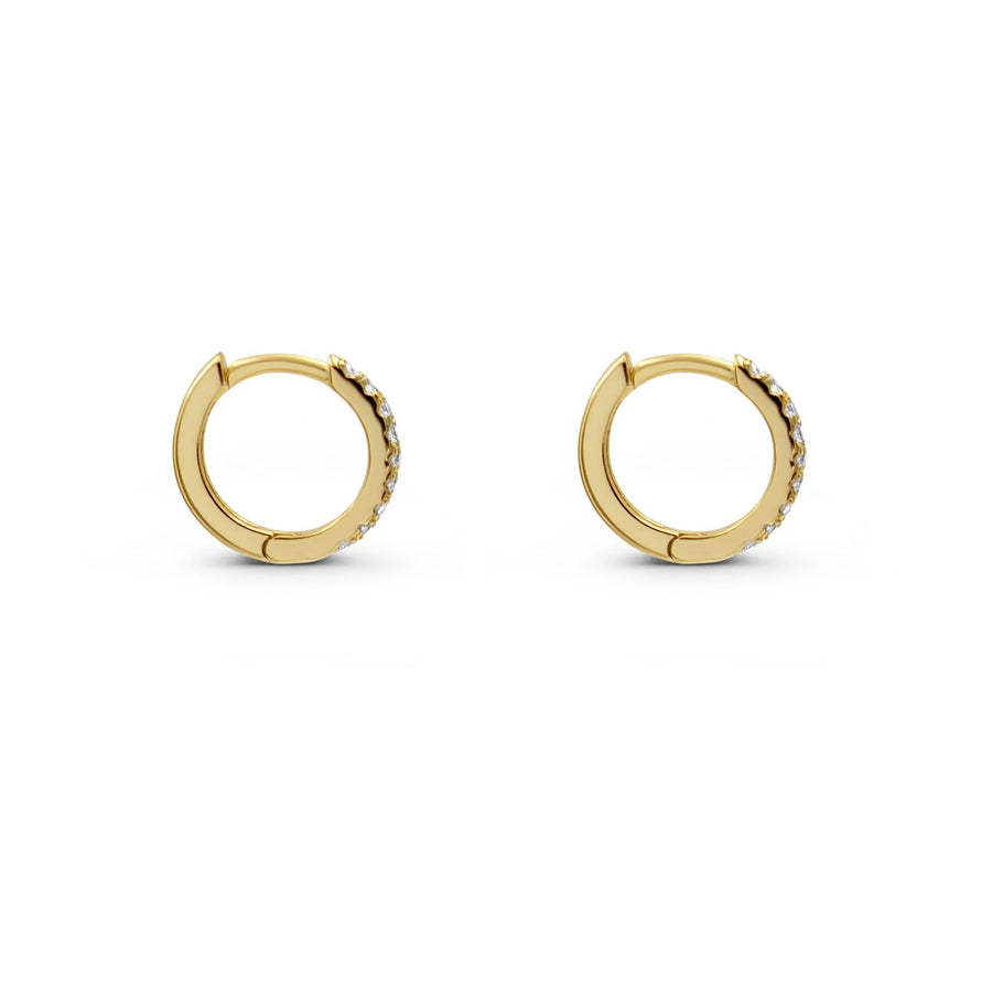 Camille Jewelry - Pave mini hoop earring with hinged connection.