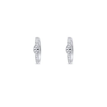 Camille Jewelry - Marquise cubic zirconia sterling silver hoop earrings