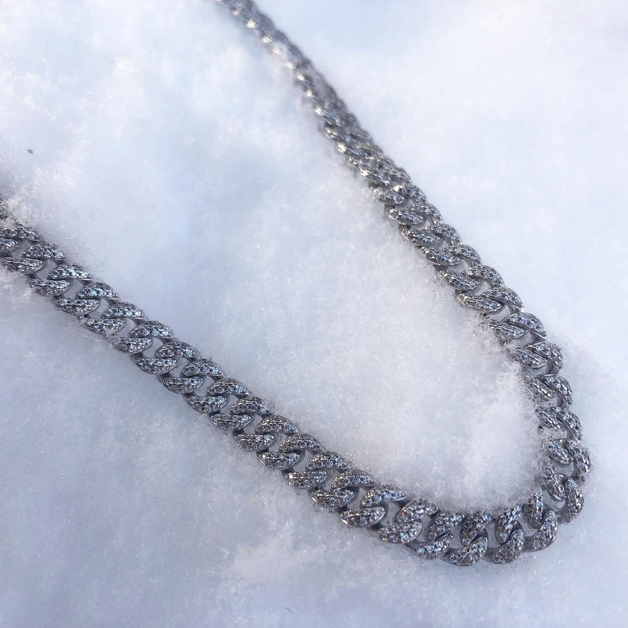 camille jewelry- pave curb chain necklace