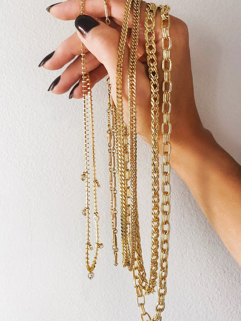 Camille Jewelry- Gold chain link necklace options from our Ares Collection. Made in NYC, Free shipping