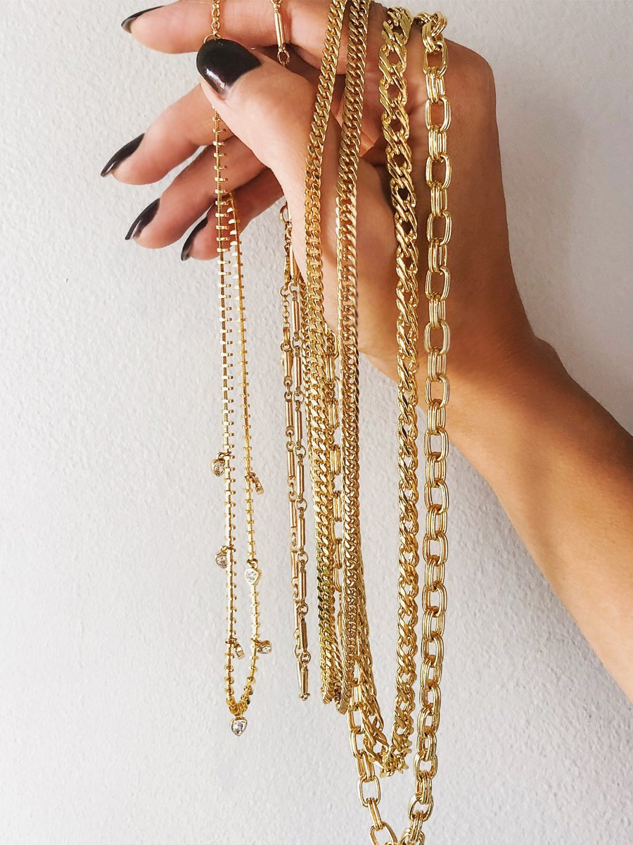 Shop chain link gold necklaces at Camille Jewelry | Ares Collection | Free Shipping