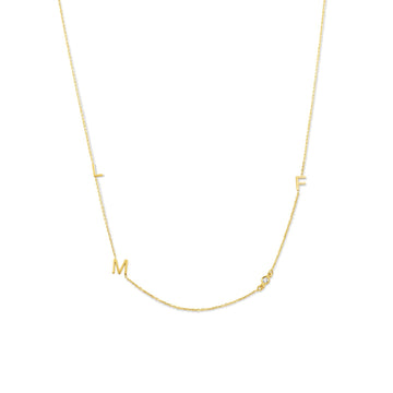 Camille Jewelry -Personalize your  14 karat gold initial necklace with diamond accent