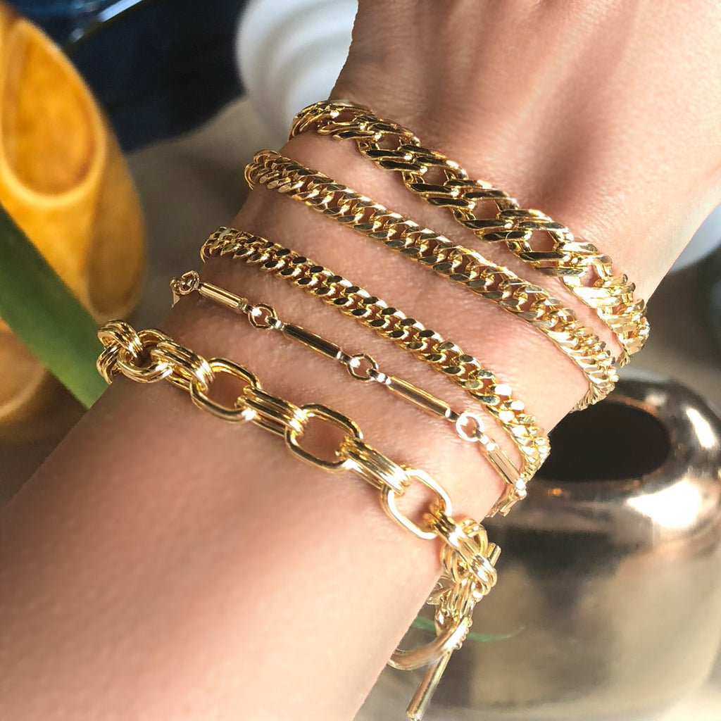 Camille Jewelry- gold link chain bracelets. Ares collection, Made in NYC. Free Shipping