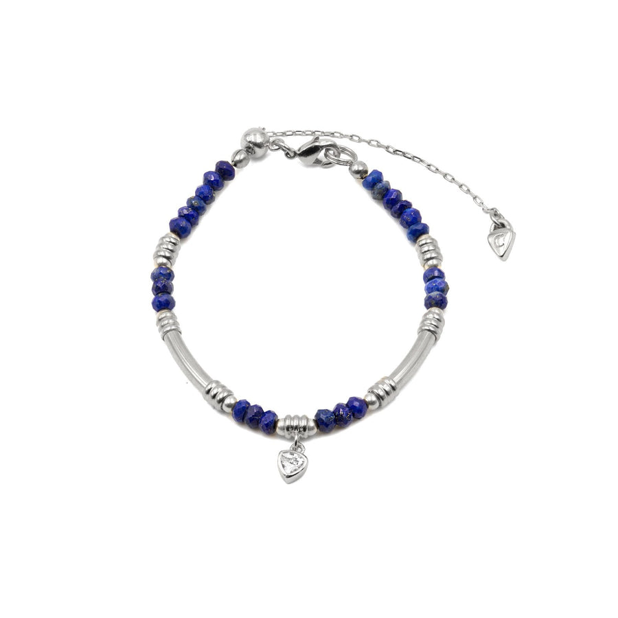 Genuine beaded lapis stone in silver plated bracelet from Camille Jewelry. FREE Shipping.