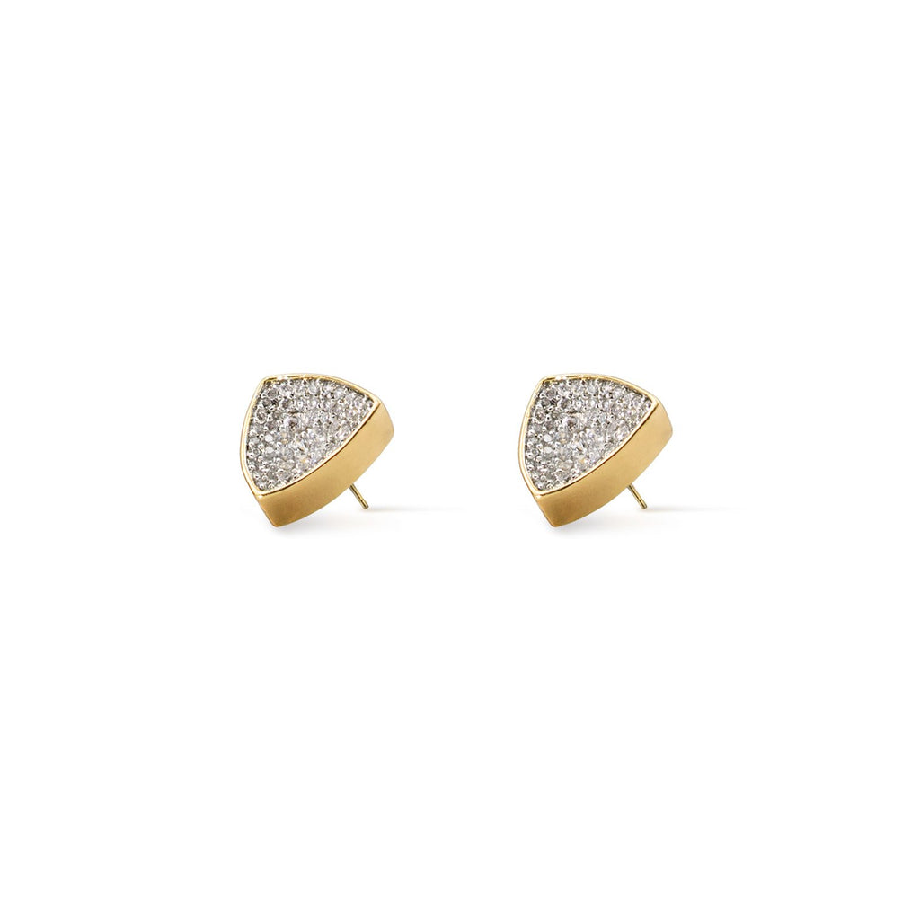 Camille Jewelry- Thyra concave pave trillion shaped large studs. Gold plated with white rhodium accent. Free shipping USA
