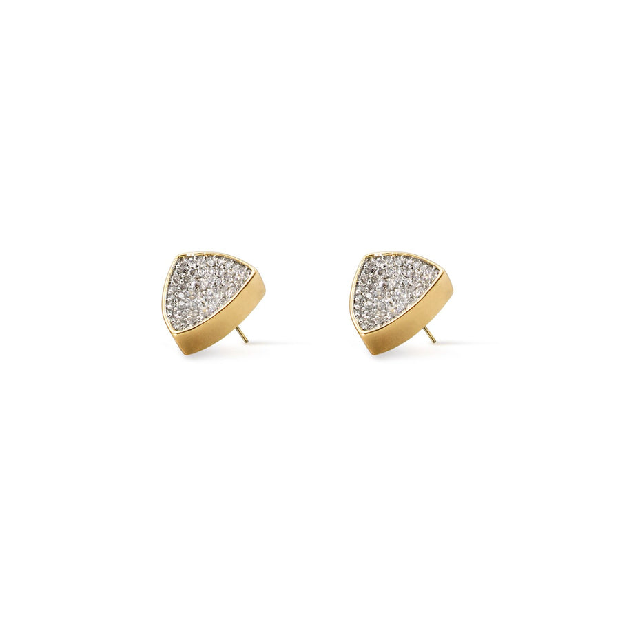 Large concave gold plated studs with handset cubic zirconia from Camille Jewelry.