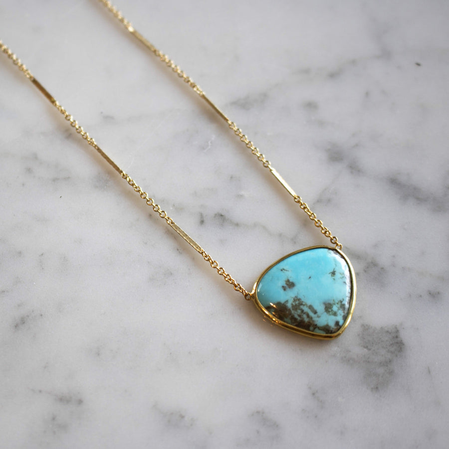 Genuine kingsman turquoise pendant in 14K gold filled | Shop Camille Jewelry
