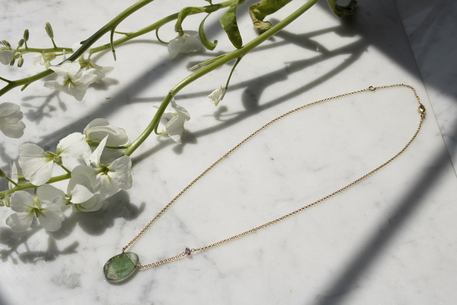 Green oval tourmaline pendant | 14K Gold Filled | Camille Jewelry