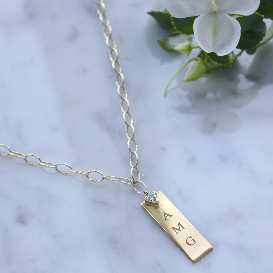 14K Gold filled rectangular plaque necklace. Personalized pendants at Camille Jewelry