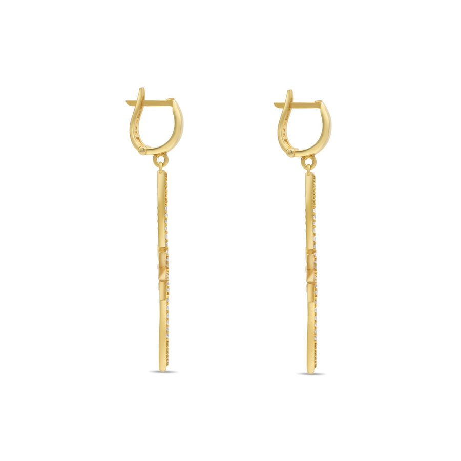 Camille Jewelry - gold vermeil  elongated star earrings  side view