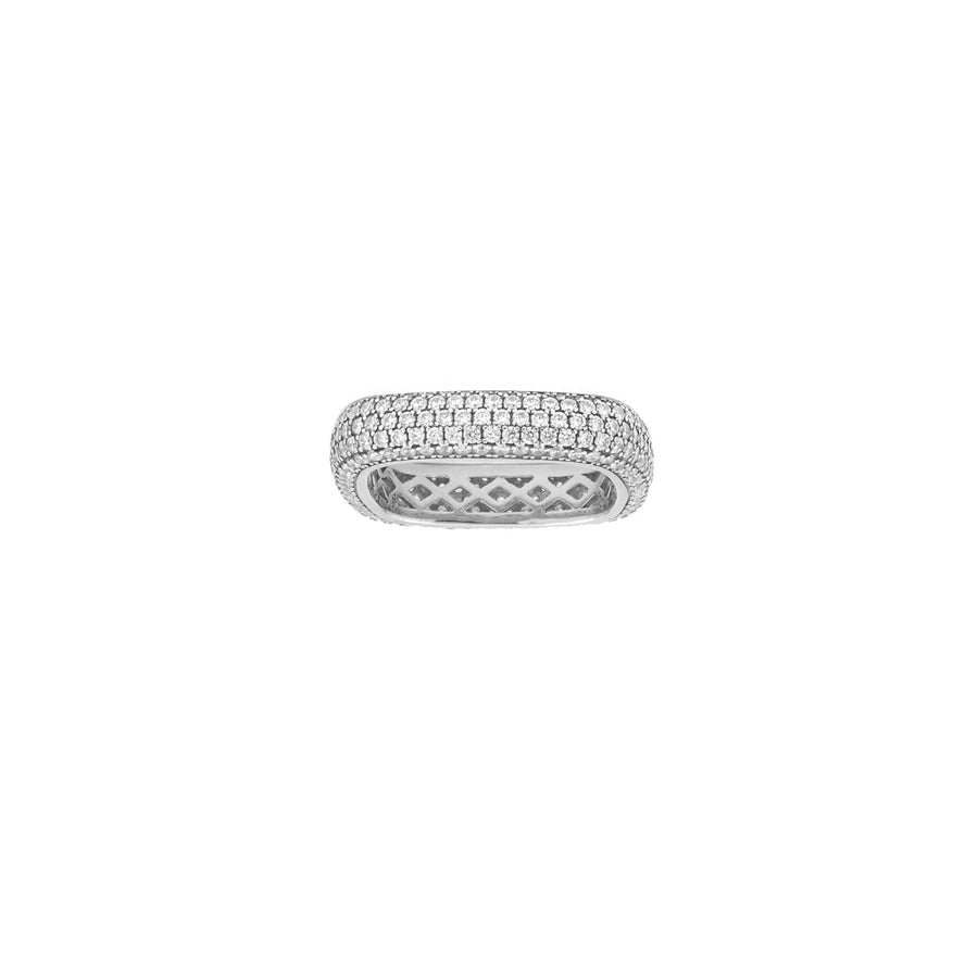 Sterling silver pave soft square ring. Free shipping within the USA.