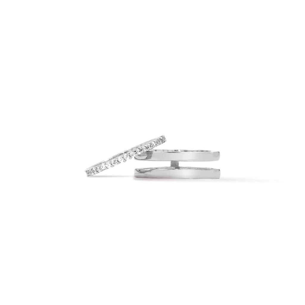 Camille Jewelry- Silver pave insert ring. Free shipping