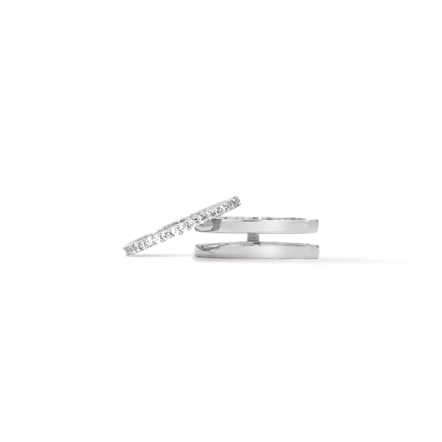Shop insert rings in silver plated and pave ring from Camille Jewelry.