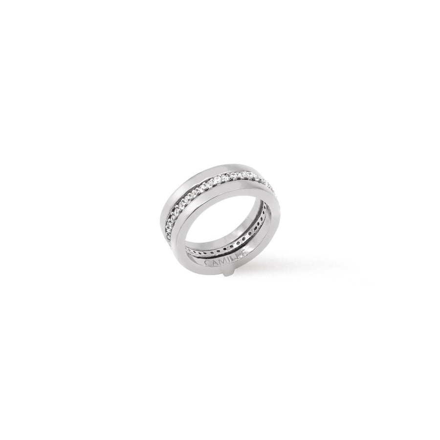 Silver Thyra insert ring with pave cubic zirconia insert from Camille Jewelry. Free Shipping.