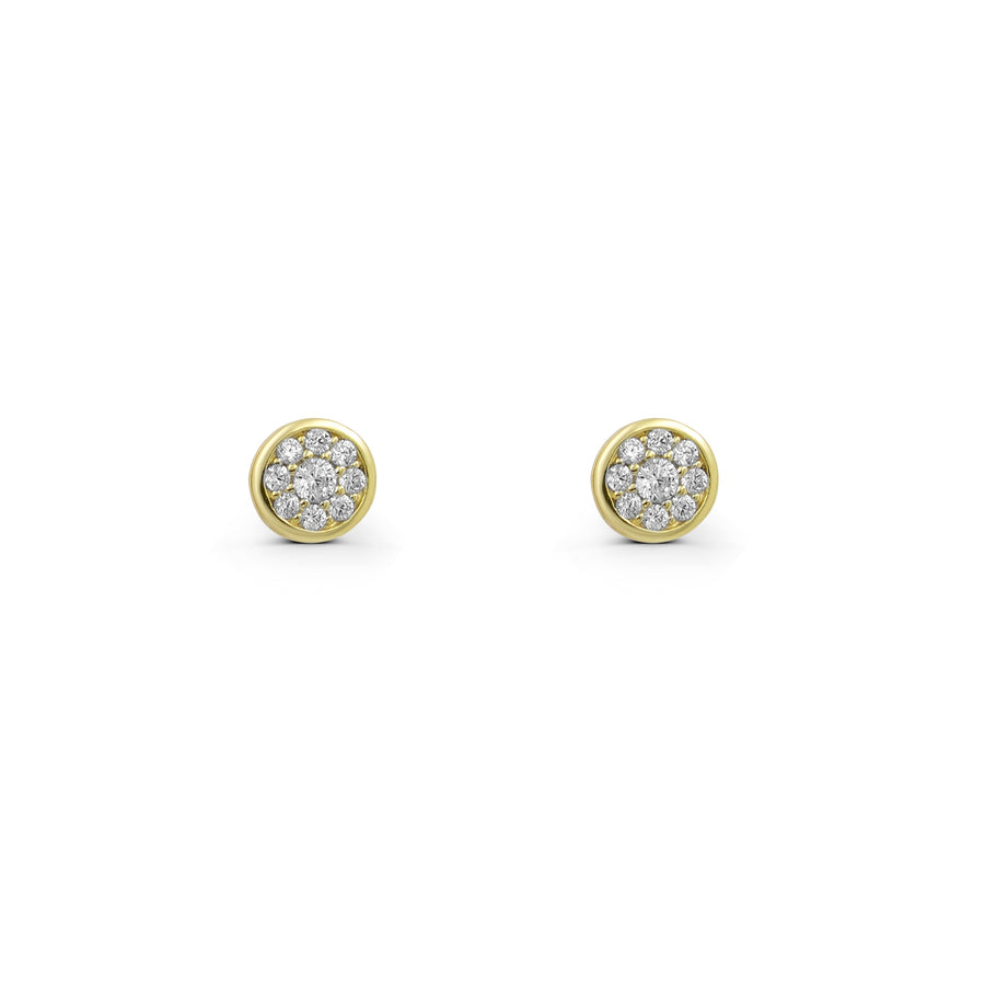 Bezel set pave cz gold plated stud earrings | Camille Jewelry