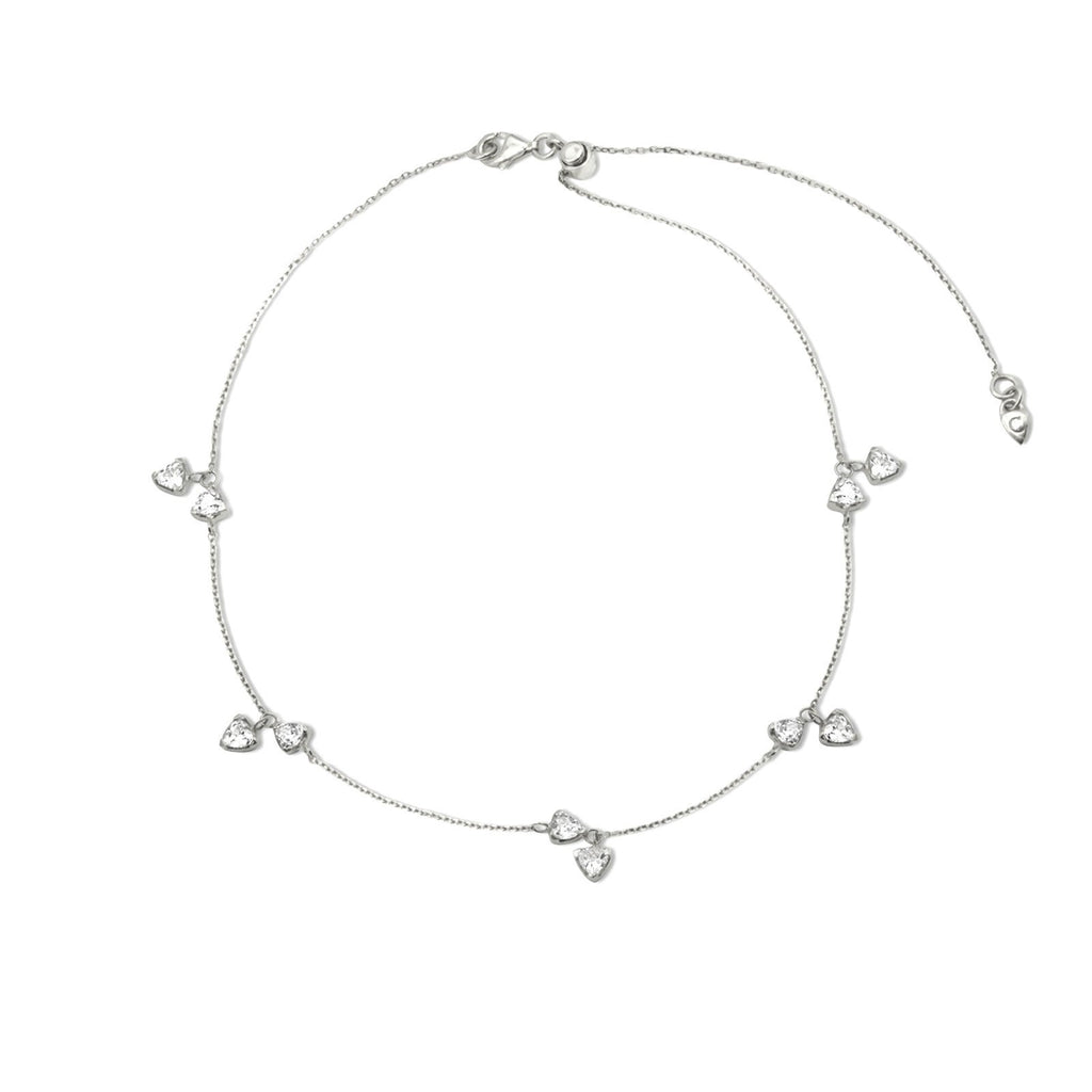 Camille Jewelry- Theia collection, rhodium plated sterling silver trillion charm delicate necklace with adjustable length. Free shipping USA