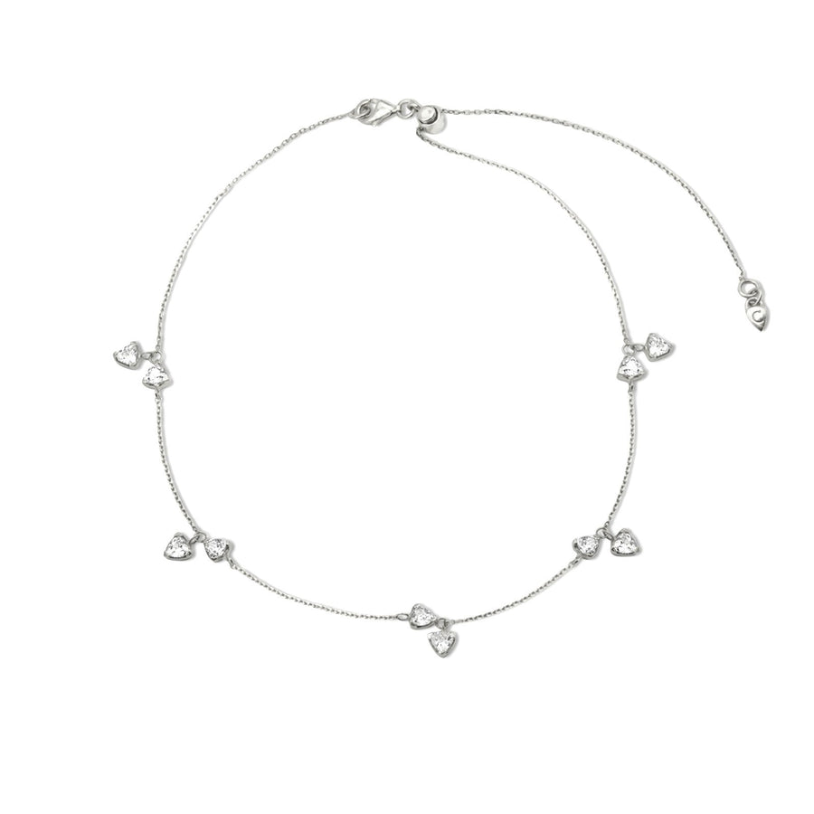 Rhodium plated sterling silver trillion charm necklace | Camille Jewelry