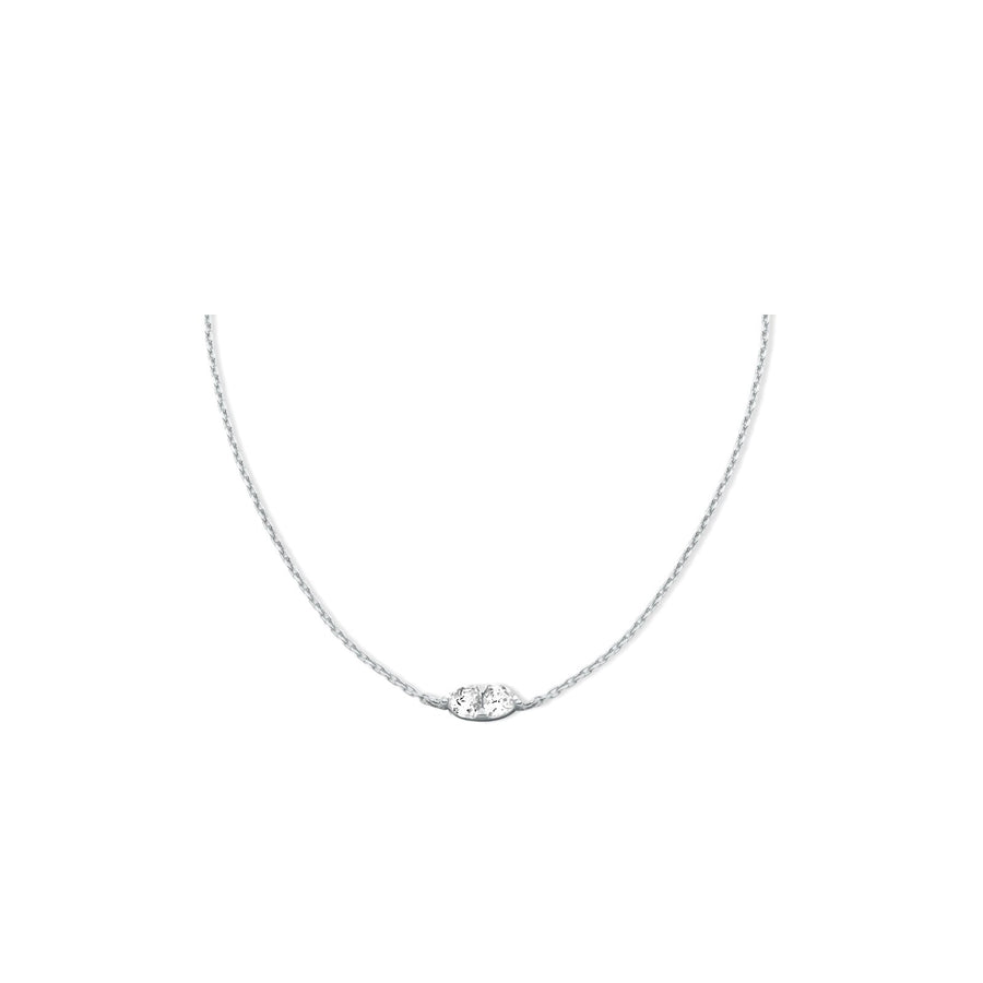 Sterling silver double trillion cubic zirconia necklace. Adjustable chain slider. Free shipping USA.