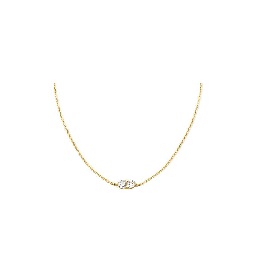 Theia collection, 18K gold vermeil double trillion cubic zirconia necklace. Adjustable chain slider.