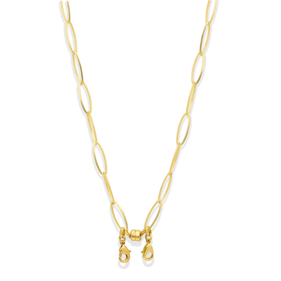 Convertible gold oval chain necklace made to hold your face masks | Camille Jewelry