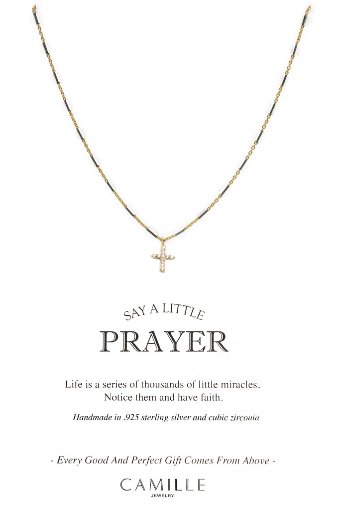 Camille Jewelry - Say a little prayer collection - pave cross carded -  Show your faith, express your love and count your blessings! Unique, delicate and perfect for a gift!  Two- tone faceted skinny tube chain in gold plated/ sterling silver with pave cross in cubic zirconia. Designed with our signature push button slider to adjust length of necklace.