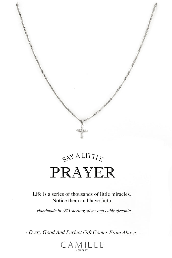 Camille Jewelry - Say a little prayer collection - pave cross carded- Show your faith, express your love and count your blessings! Unique, delicate and perfect for a gift!  Faceted skinny tube chain in sterling silver with pave cross in cubic zirconia. Designed with our signature push button slider to adjust length of necklace. free shipping!