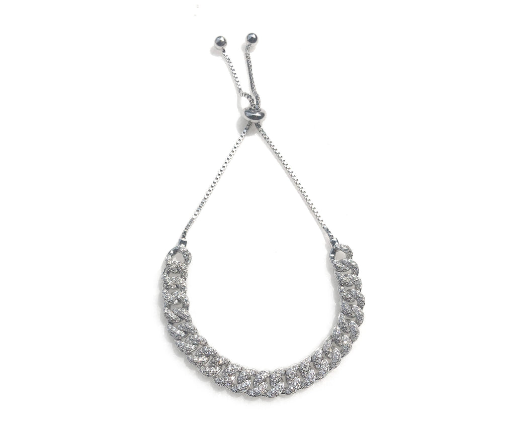 Sterling silver adjustable curb link bracelet available at Camille Jewelry.