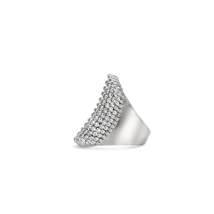 Shop rhodium plated sterling silver large pave cocktail ring from Camille Jewelry.