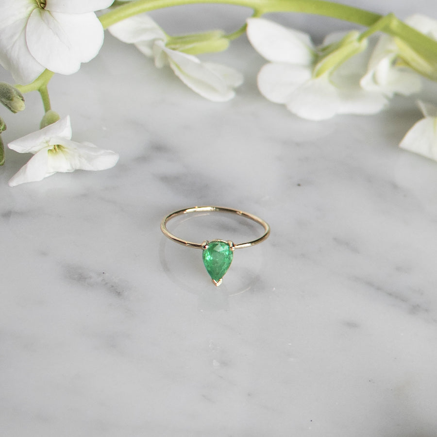 Genuine teardrop emerald ring on thin 14K Gold band | Fine Jewelry | Camille Jewelry