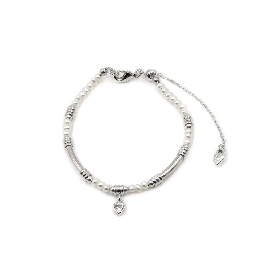 Freshwater pearl beaded silver plated bracelet from Camille Jewelry