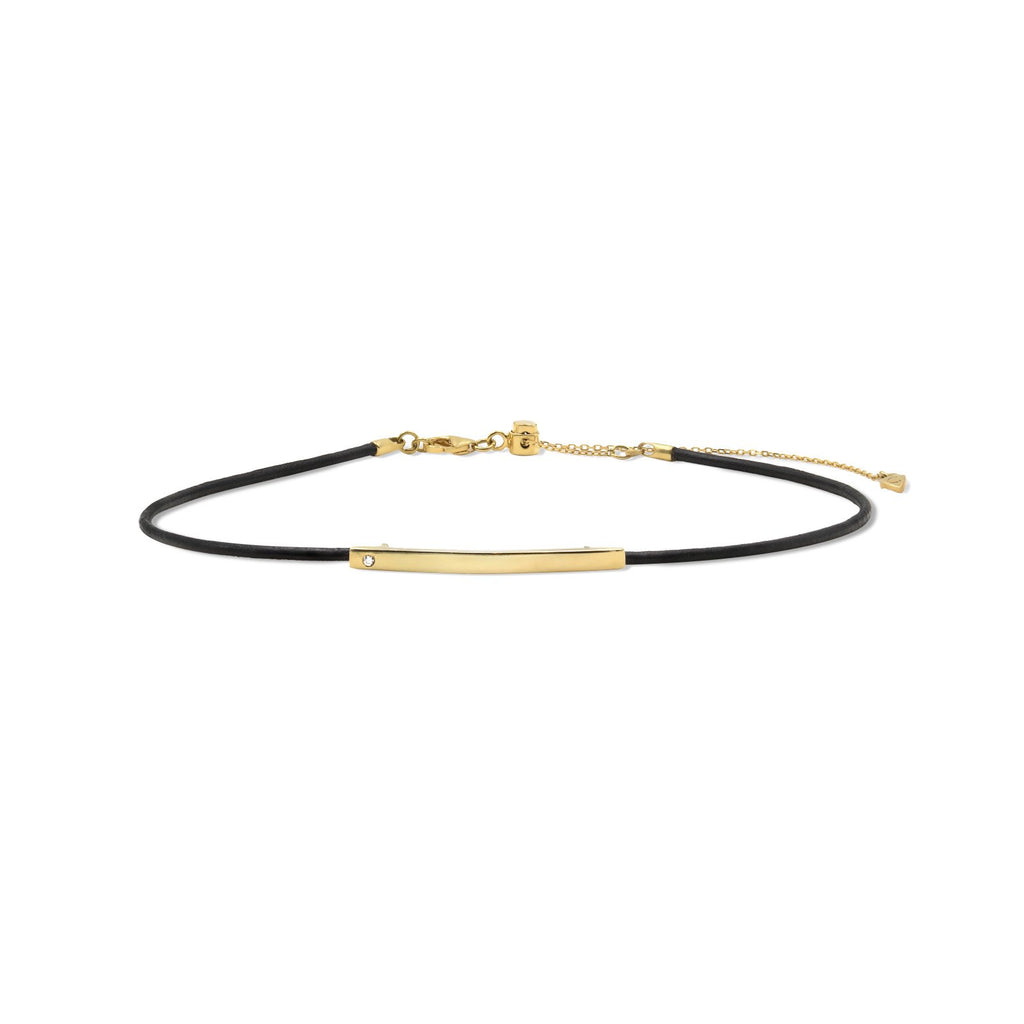 Camille Jewelry - Theia collection, 18 karat gold vermeil plaque leather choker. Made in NYC. Free shipping, USA