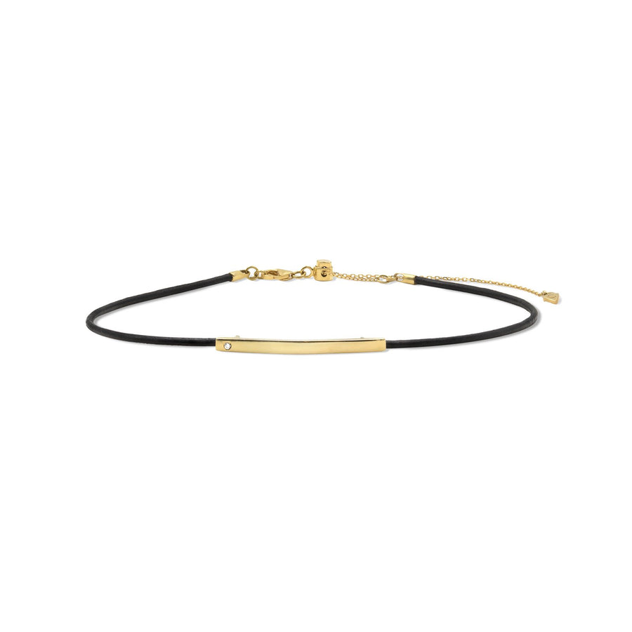18K gold vermeil plaque leather choker from Camille Jewelry. Made in NYC.